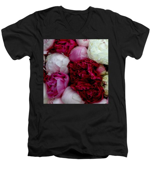 Peony Bouquet Men's V-Neck T-Shirt by Lainie Wrightson
