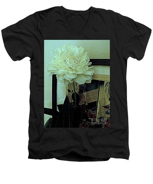 Peony Pose Men's V-Neck T-Shirt by Nancy Kane Chapman