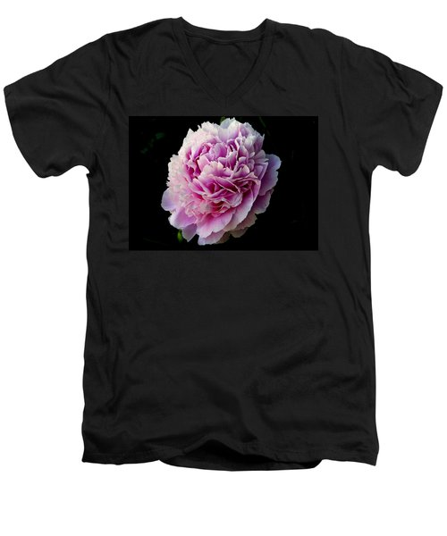 Men's V-Neck T-Shirt featuring the photograph Peony by Rhonda McDougall