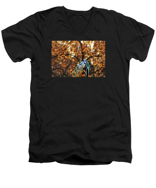 Men's V-Neck T-Shirt featuring the photograph Perched Jay by Cameron Wood