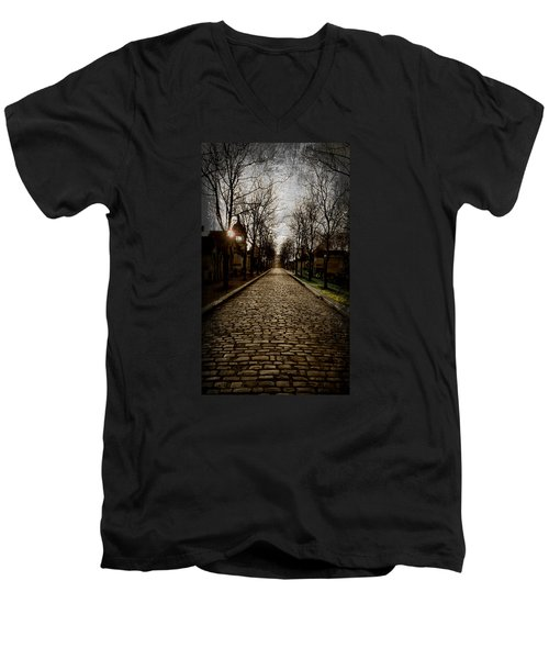 Pere Lachaise Cemetery Road 2 Men's V-Neck T-Shirt by Katie Wing Vigil