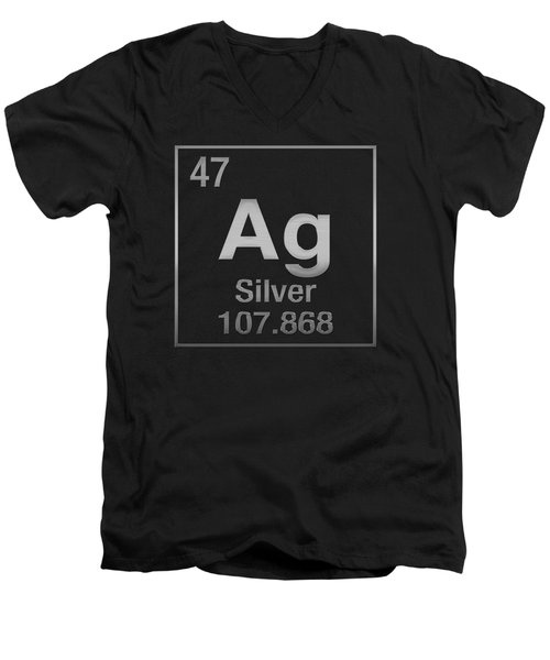 Periodic Table Of Elements - Silver - Ag - Silver On Black Men's V-Neck T-Shirt