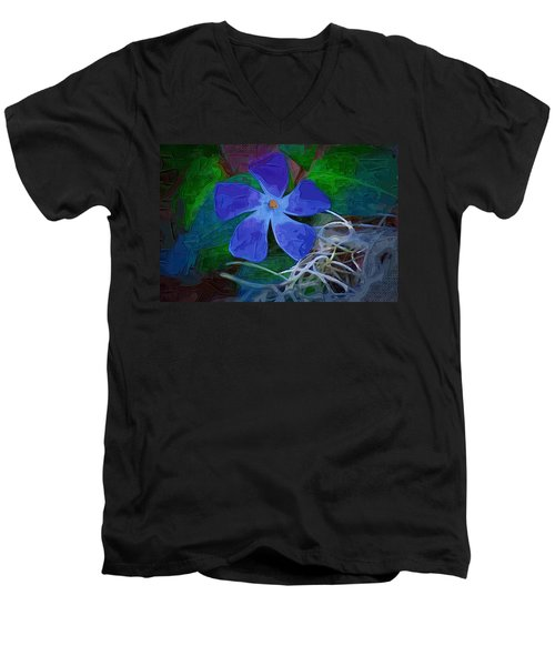 Men's V-Neck T-Shirt featuring the digital art Periwinkle Blue by Donna Bentley
