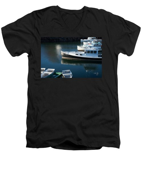 Perkins Cove Lobster Boats One Men's V-Neck T-Shirt
