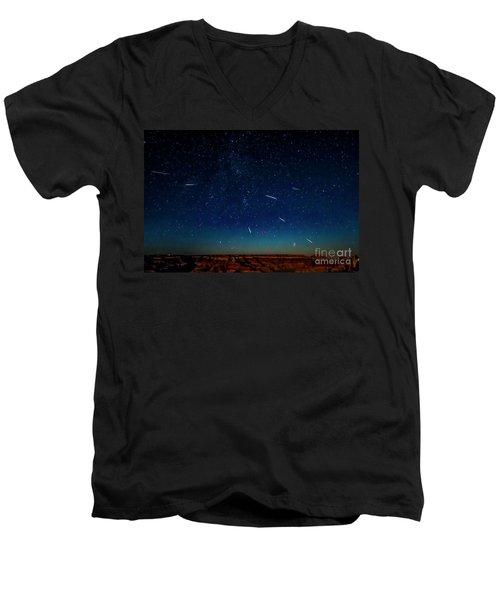 Perseid Meteor Shower Men's V-Neck T-Shirt