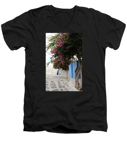 Men's V-Neck T-Shirt featuring the photograph Perspective Blue Door by Haleh Mahbod