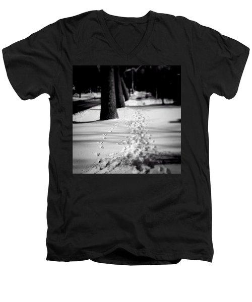 Pet Prints In The Snow Men's V-Neck T-Shirt