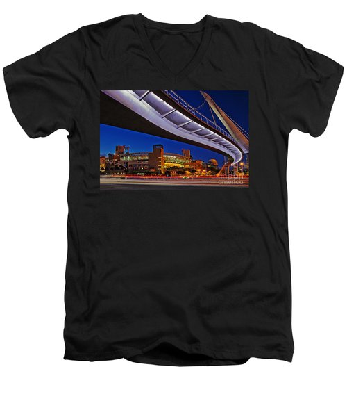 Petco Park And The Harbor Drive Pedestrian Bridge In Downtown San Diego  Men's V-Neck T-Shirt by Sam Antonio Photography