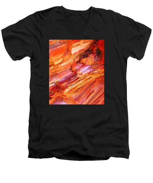 Men's V-Neck T-Shirt featuring the photograph Petrified Abstraction No 1 by Andreas Thust