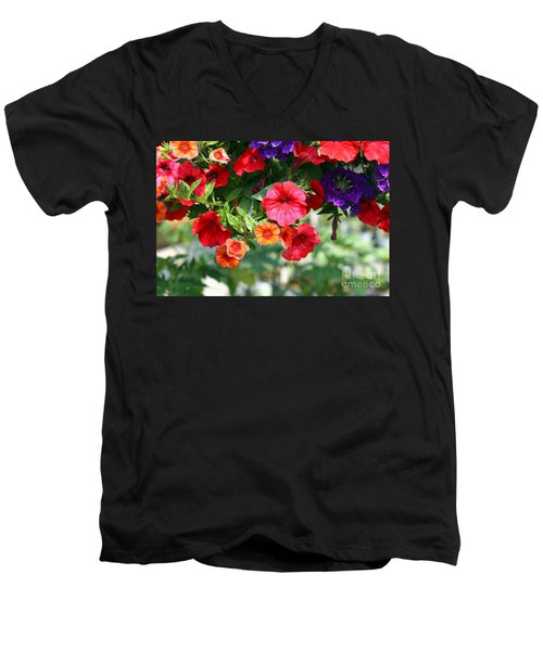 Men's V-Neck T-Shirt featuring the photograph Petunias by Denise Pohl