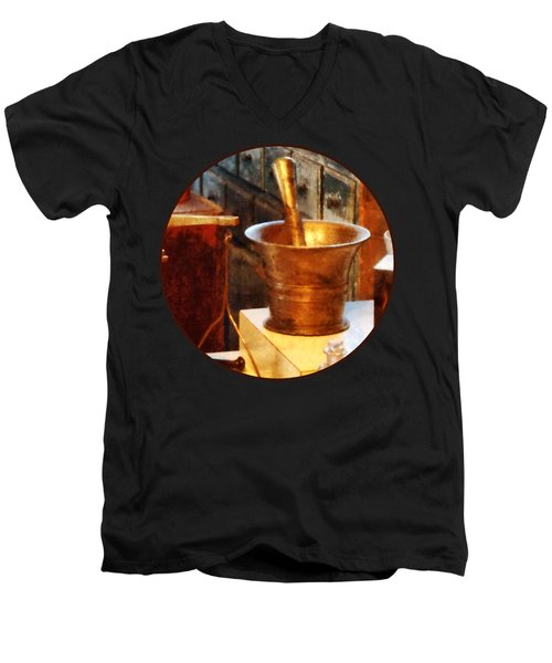 Pharmacist - Brass Mortar And Pestle Men's V-Neck T-Shirt by Susan Savad