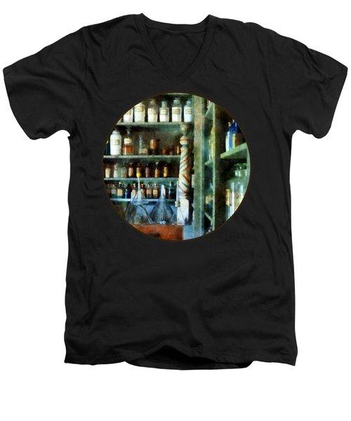 Pharmacy - Back Room Of Drug Store Men's V-Neck T-Shirt by Susan Savad