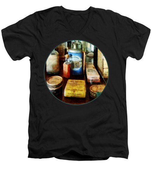 Pharmacy - Cough Remedies And Tooth Powder Men's V-Neck T-Shirt by Susan Savad