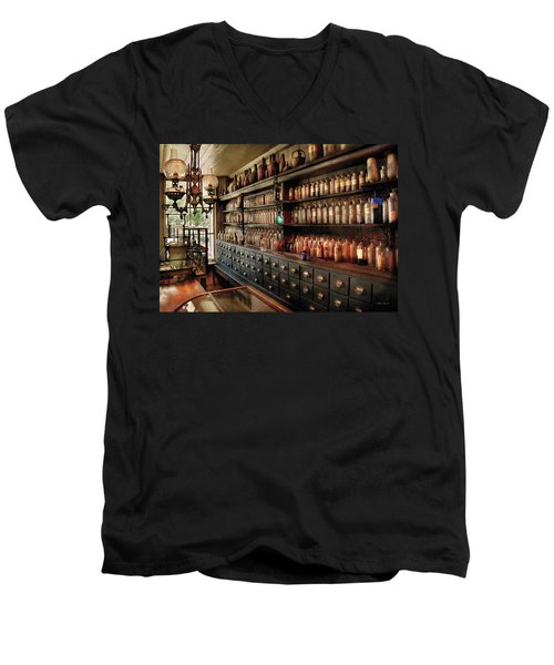 Pharmacy - So Many Drawers And Bottles Men's V-Neck T-Shirt by Mike Savad