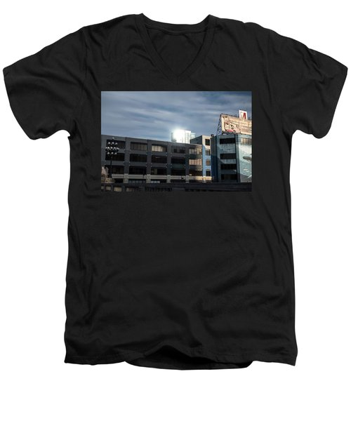 Men's V-Neck T-Shirt featuring the photograph Philadelphia Urban Landscape - 1195 by David Sutton