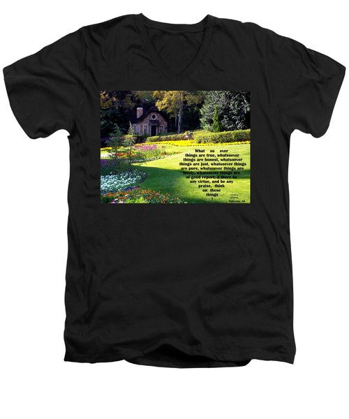 Men's V-Neck T-Shirt featuring the photograph Philippians 4-8 The  Cottage House by Cynthia Amaral