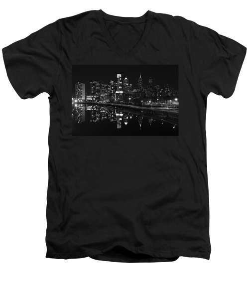 Philly And The Schuylkill Bw Men's V-Neck T-Shirt