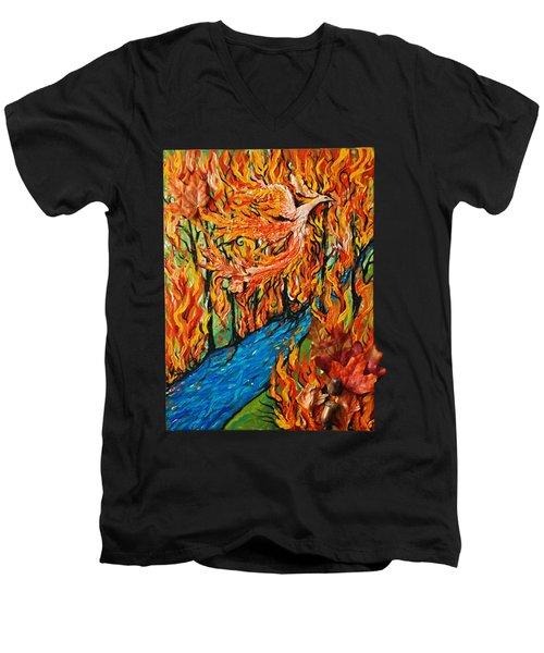 Phoenix Forest Fire Men's V-Neck T-Shirt
