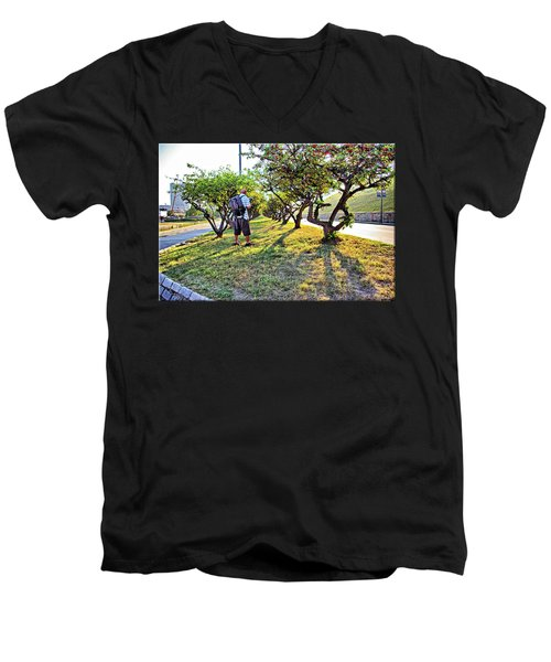 Men's V-Neck T-Shirt featuring the photograph Photographer by Brian Wallace