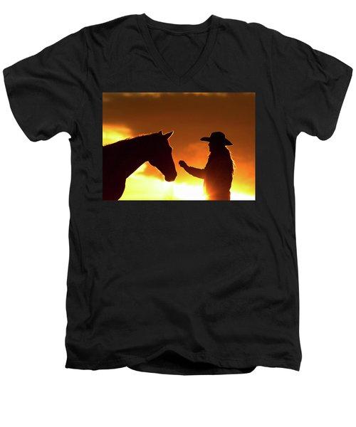 Cowgirl Sunset Sihouette Men's V-Neck T-Shirt