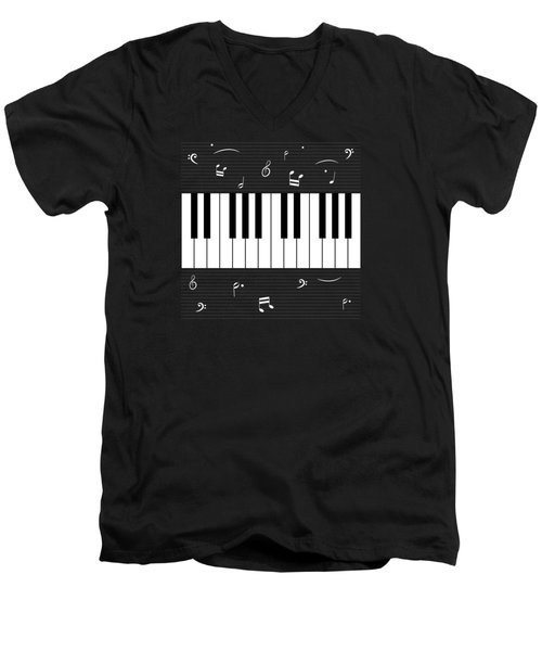 Piano And Music Background Men's V-Neck T-Shirt