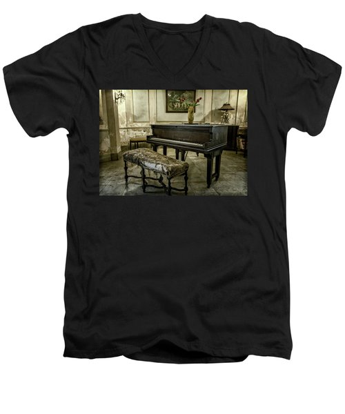 Men's V-Neck T-Shirt featuring the photograph Piano At Josie's House by Joan Carroll