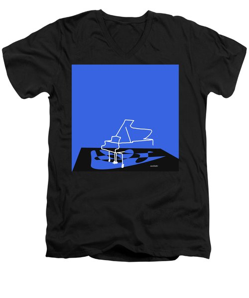 Piano In Blue Men's V-Neck T-Shirt