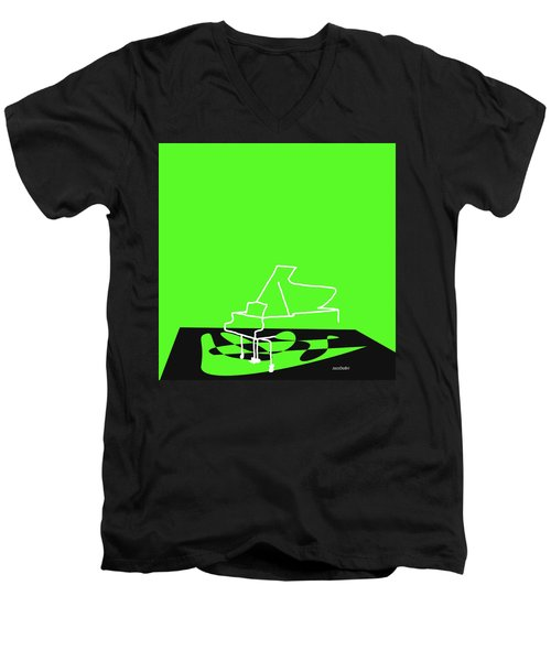 Men's V-Neck T-Shirt featuring the digital art Piano In Green by Jazz DaBri