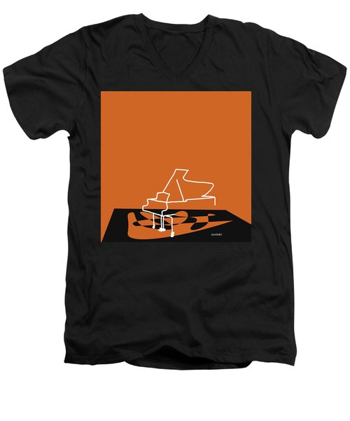 Men's V-Neck T-Shirt featuring the digital art Piano In Orange by Jazz DaBri