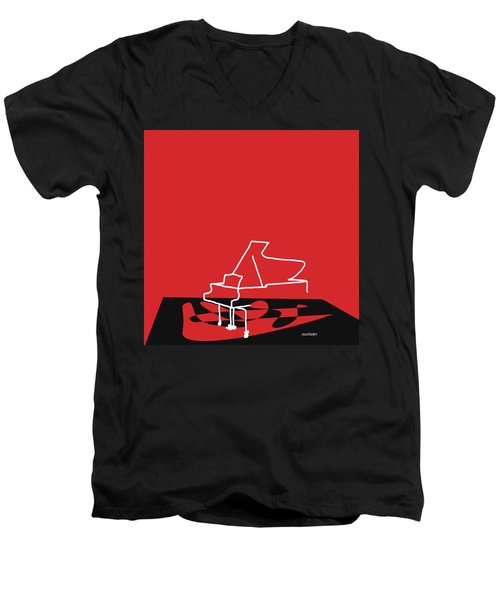 Piano In Red Men's V-Neck T-Shirt