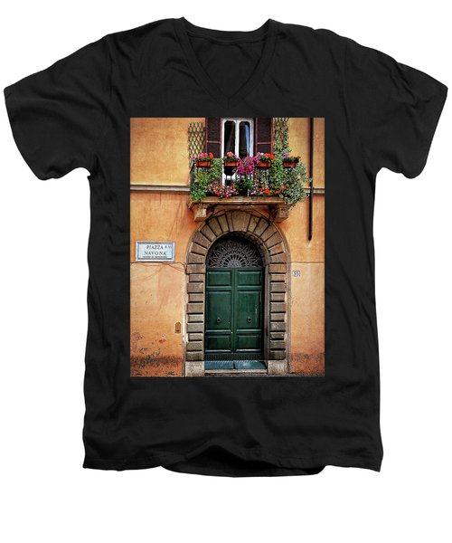 Piazza Navona House Men's V-Neck T-Shirt by Marion McCristall