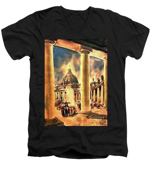 Piazza San Pietro In Roma Italy Men's V-Neck T-Shirt