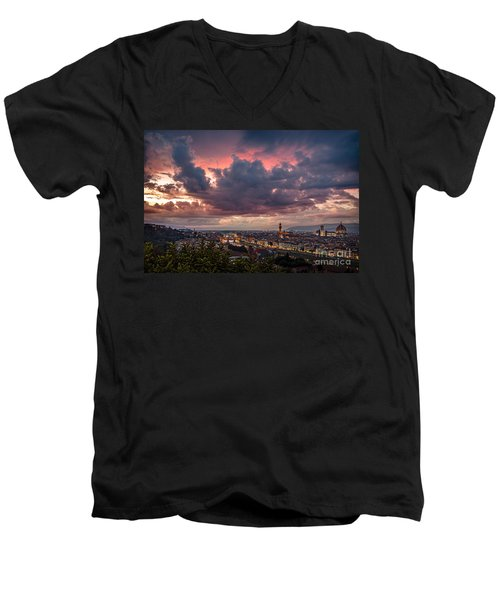 Piazzale Michelangelo Men's V-Neck T-Shirt by Giuseppe Torre