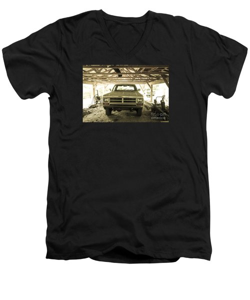 Pick Up Truck In Rural Farm Setting Men's V-Neck T-Shirt by Perry Van Munster