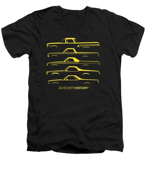 Pickupino Silhouettehistory Men's V-Neck T-Shirt by Gabor Vida