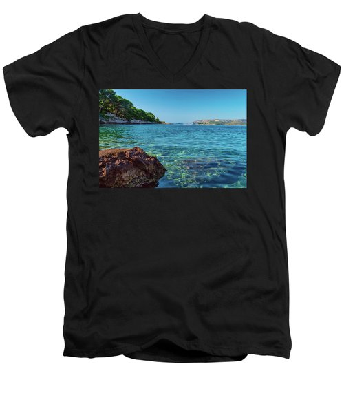 Picturesque Croatia Offers Tourists Pristine Beaches Of The Adriatic, Surrounded By Pine Trees And R Men's V-Neck T-Shirt