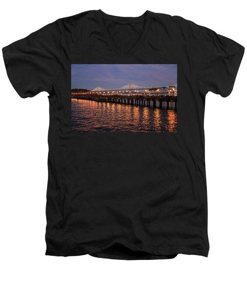 Pier 7 And Bay Bridge Lights At Sunset Men's V-Neck T-Shirt