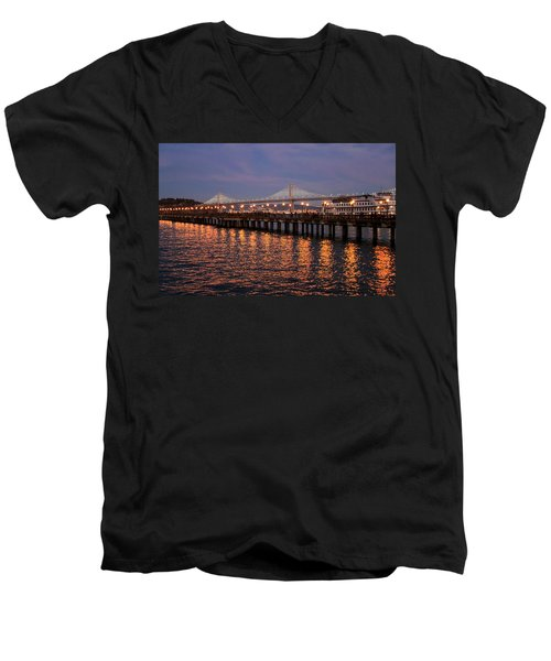 Pier 7 And Bay Bridge Lights At Sunset Men's V-Neck T-Shirt
