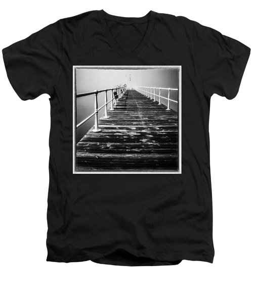 Pier At Pooley Bridge On Ullswater In The Lake District Men's V-Neck T-Shirt