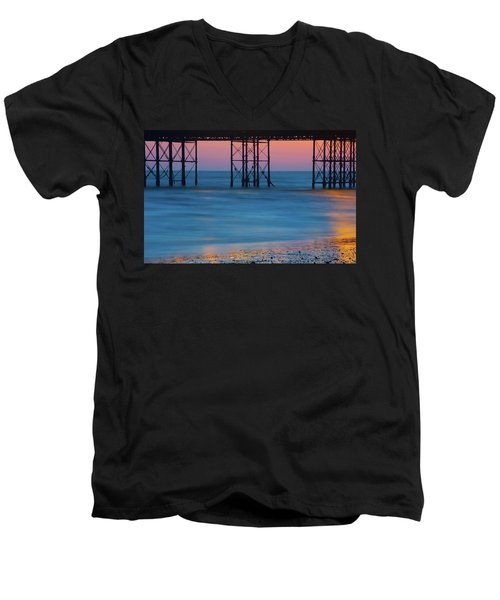 Pier Supports At Sunset I Men's V-Neck T-Shirt
