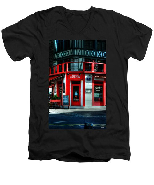 Men's V-Neck T-Shirt featuring the photograph Pierre Champion Rouen France by Tom Prendergast