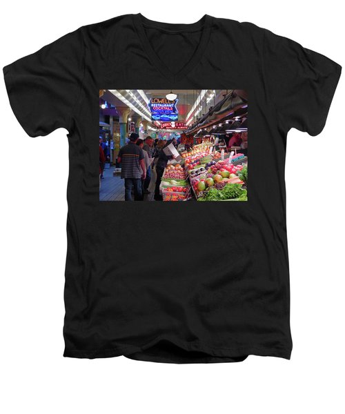Men's V-Neck T-Shirt featuring the photograph Pike Market Fruit Stand by Walter Fahmy