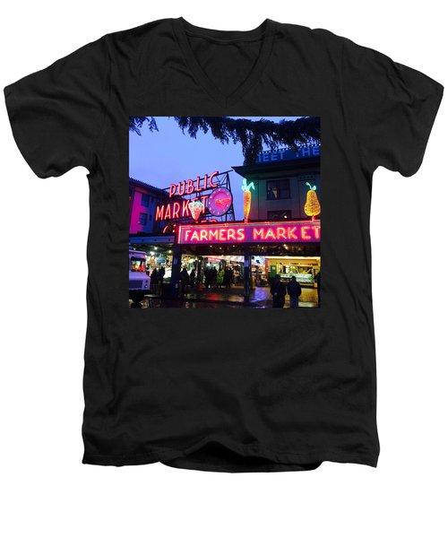 Pike Place Market Men's V-Neck T-Shirt by Anthony Grayson