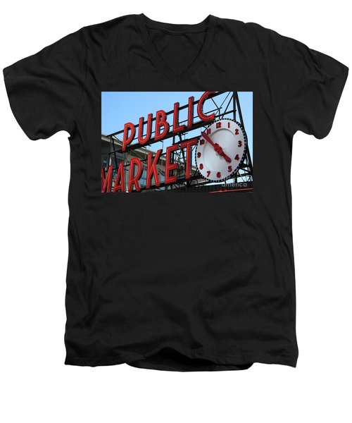 Men's V-Neck T-Shirt featuring the photograph Pike Street Market Clock by Peter Simmons