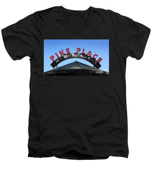 Men's V-Neck T-Shirt featuring the photograph Pike Street Market Sign by Peter Simmons