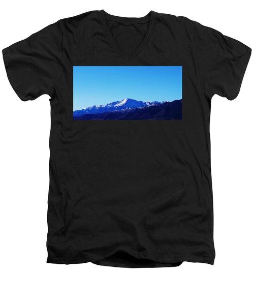 Pikes Peak Men's V-Neck T-Shirt by Joseph Frank Baraba