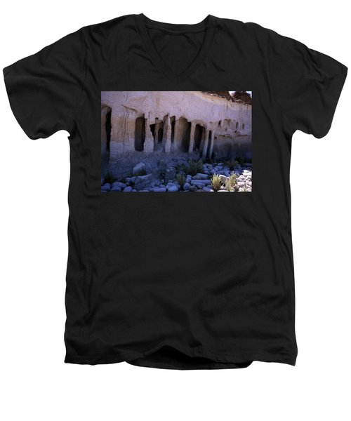 Pillars And Caves, Crowley Lake Men's V-Neck T-Shirt by Michael Courtney