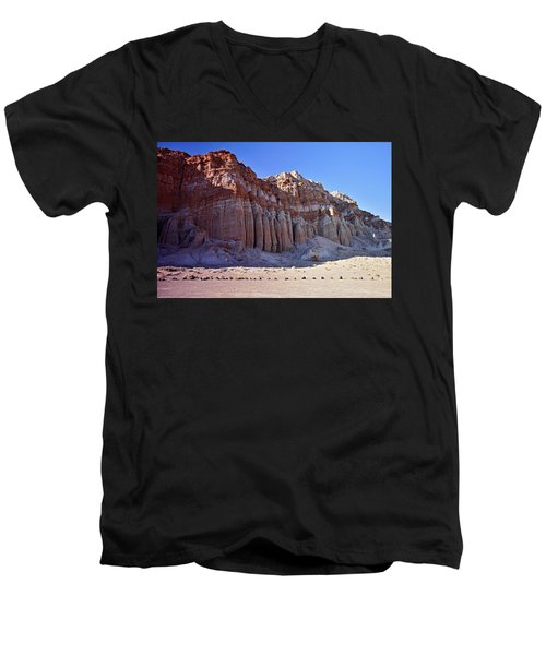Pillars, Red Rock Canyon State Park Men's V-Neck T-Shirt by Michael Courtney