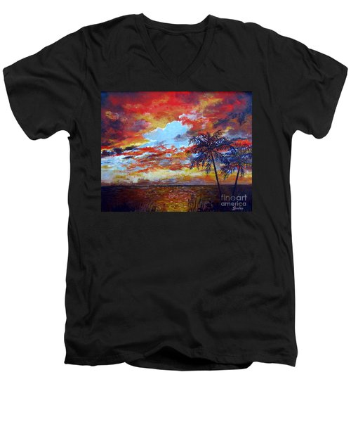Men's V-Neck T-Shirt featuring the painting Pine Island Sunset by Lou Ann Bagnall