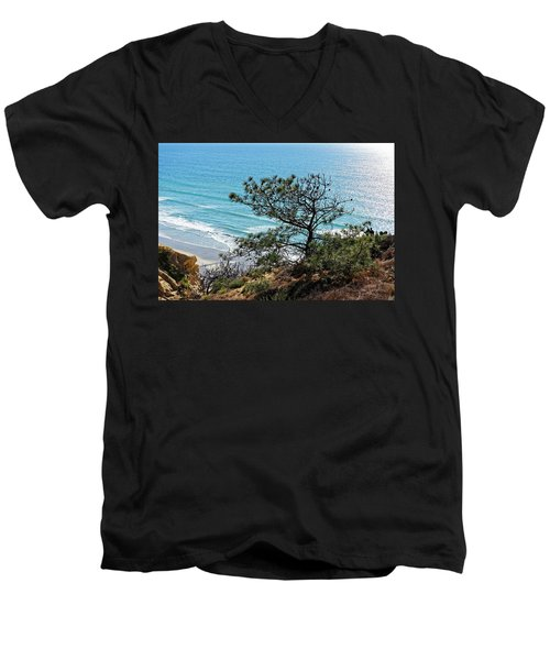 Pine Tree On Coast Men's V-Neck T-Shirt